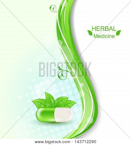 Illustration Medical Wavy Background with Pill and Green Leaves, Herbal Medicine - Vector