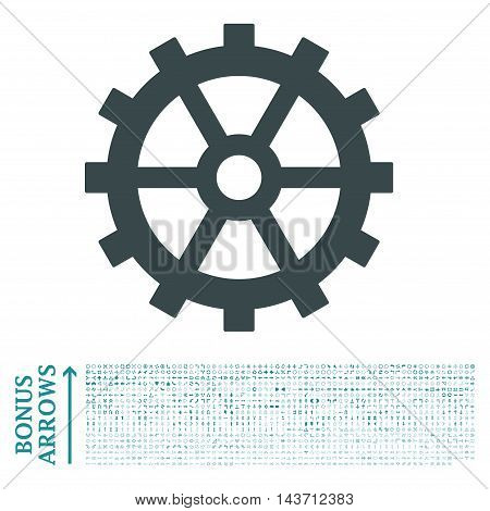 Gear icon with 1200 bonus arrow and direction pictograms. Vector illustration style is flat iconic bicolor symbols, soft blue colors, white background.