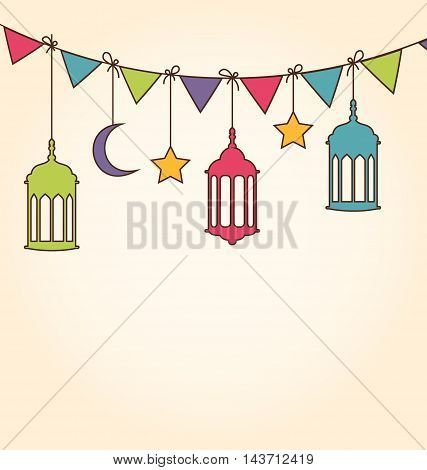 Illustration Background for Ramadan Kareem with Colorful Hanging Lamps and Bunting Pennants - Vector