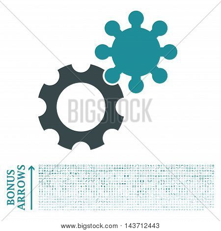 Gears icon with 1200 bonus arrow and navigation pictograms. Vector illustration style is flat iconic bicolor symbols, soft blue colors, white background.
