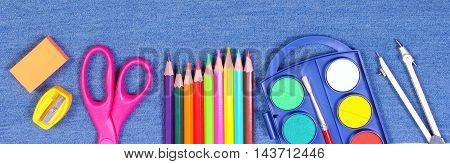 School And Office Supplies On Jeans Background, Back To School Concept