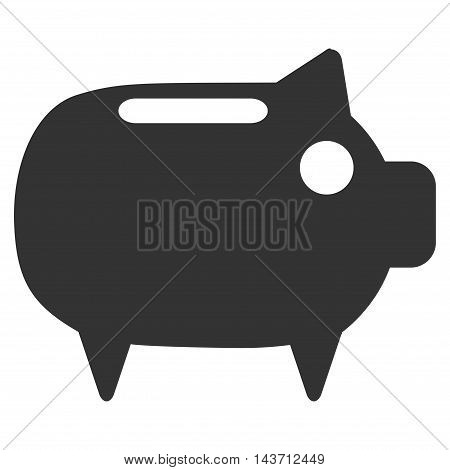 Piggy Bank icon. Glyph style is flat iconic symbol with rounded angles, gray color, white background.