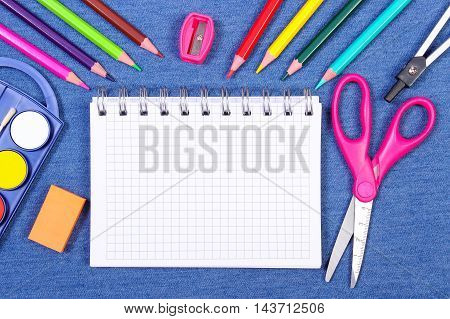 School And Office Supplies On Jeans Background, Back To School Concept, Copy Space For Text