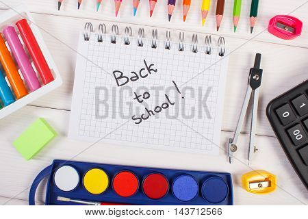 School Accessories On White Boards, Back To School Concept