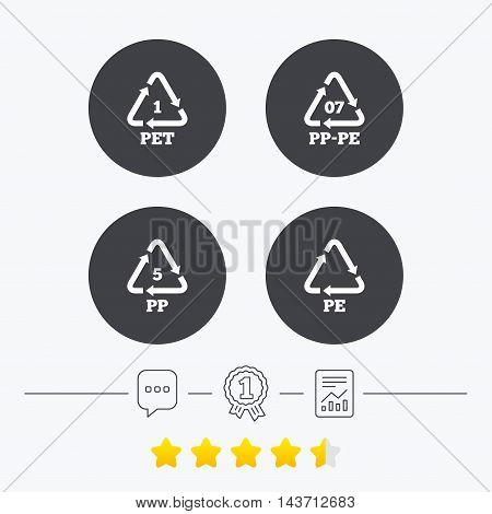 PET 1, PP-pe 07, PP 5 and PE icons. High-density Polyethylene terephthalate sign. Recycling symbol. Chat, award medal and report linear icons. Star vote ranking. Vector