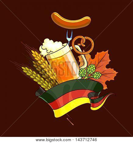 Octoberfest festival cartoon design with glass of beer, ears. Oktoberfest Vector Illustration.