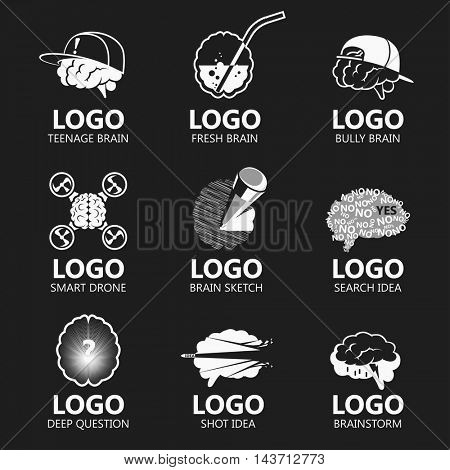 Set of brain logo vector illustration sign set.