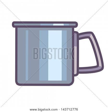 tin camping mug isolated on white. Vector Illustration.