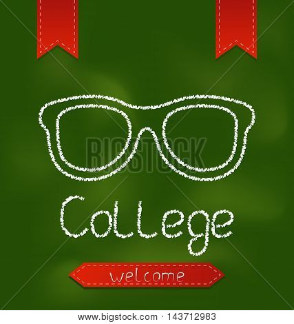Illustration blackboard with text and glasses - vector