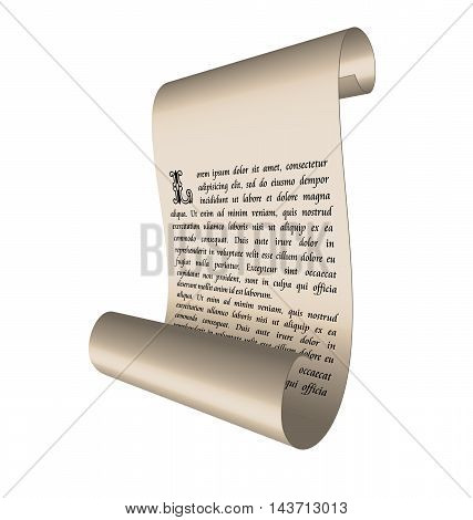 Illustration of an ancient scroll with text isolated on white background - vector