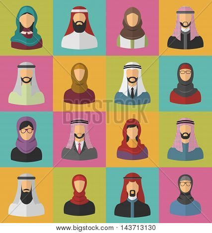 Illustration Set Arabic Men and Women, Heads and Headscarf, Portraits, Traditional Clothing in Arab Countries, Flat Icons - Vector