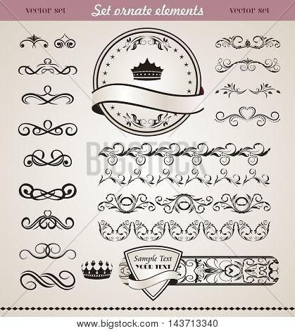 Illustration set floral ornate design elements 2 - vector