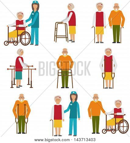 Illustration Set of Older People Disabled. Elderly People in Different Situations with Caregivers - Vector
