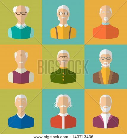 Illustration Old people Icons of Faces of Old Men. Grandfathers Characters. Heads of Pensioners. Cartoon Style Avatars. Flat Icons - Vector