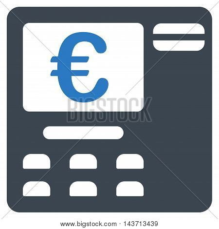 Euro Atm icon. Glyph style is bicolor flat iconic symbol with rounded angles, smooth blue colors, white background.