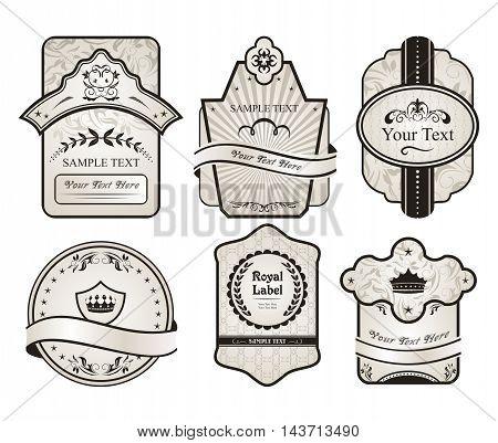 Illustration set retro variation vintage labels 1 - vector