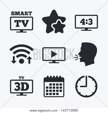 Smart TV mode icon. Aspect ratio 4:3 widescreen symbol. 3D Television sign. Wifi internet, favorite stars, calendar and clock. Talking head. Vector