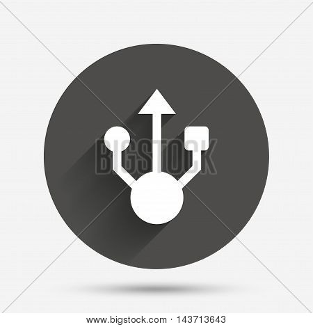 Usb sign icon. Usb flash drive symbol. Circle flat button with shadow. Vector