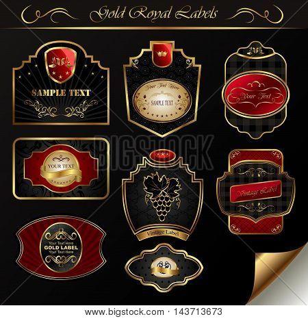 Illustration set black gold frame labels - vector