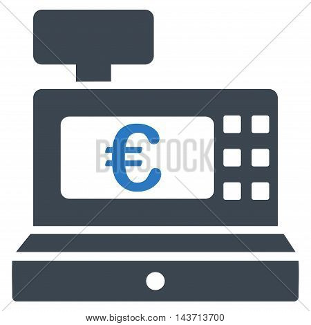 Euro Cashbox icon. Glyph style is bicolor flat iconic symbol with rounded angles, smooth blue colors, white background.