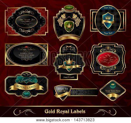 Illustration set colorful gold frame labels - vector