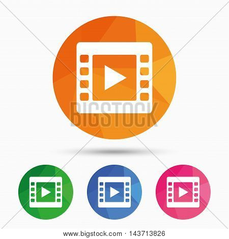Video sign icon. Video frame symbol. Triangular low poly button with flat icon. Vector