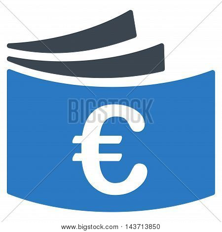 Euro Checkbook icon. Glyph style is bicolor flat iconic symbol with rounded angles, smooth blue colors, white background.