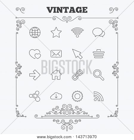 Internet and Web icons. Wi-fi network, favorite star and internet globe. Hearts, shopping cart and speech bubbles. Share, rss and link symbols. Vintage ornament patterns. Decoration design elements. Vector
