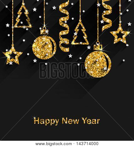Illustration Merry Christmas Beautiful Card with Traditional Tinsel with Golden Dust Surface, Dark Luxury Background - Vector