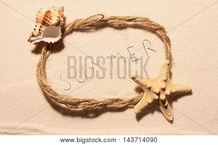 Frame With Starfish, Empty Seashell And Summer On Sand