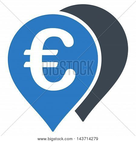 Euro Map Markers icon. Glyph style is bicolor flat iconic symbol with rounded angles, smooth blue colors, white background.