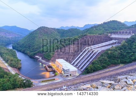 The power station at the Srinakarin Dam in Thailand.