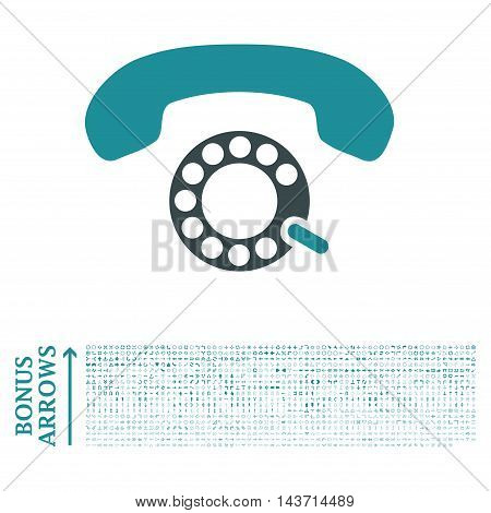 Pulse Dialing icon with 1200 bonus arrow and direction pictograms. Vector illustration style is flat iconic bicolor symbols, soft blue colors, white background.