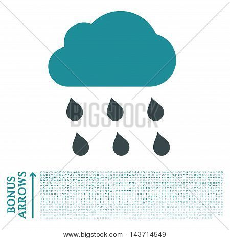 Rain Cloud icon with 1200 bonus arrow and navigation pictograms. Vector illustration style is flat iconic bicolor symbols, soft blue colors, white background.