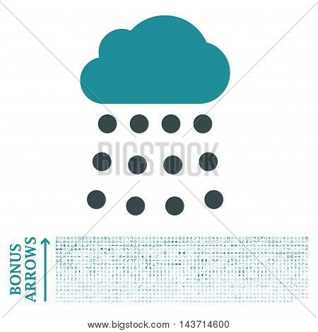 Rain Cloud icon with 1200 bonus arrow and direction pictograms. Vector illustration style is flat iconic bicolor symbols, soft blue colors, white background.