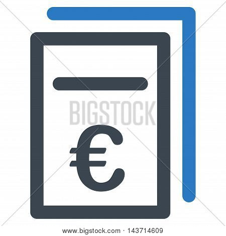 Euro Pricing Documents icon. Glyph style is bicolor flat iconic symbol with rounded angles, smooth blue colors, white background.
