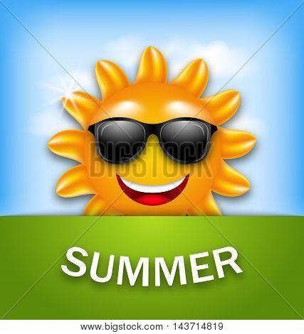 Illustration Cool Happy Summer Sun in Sunglasses - Vector