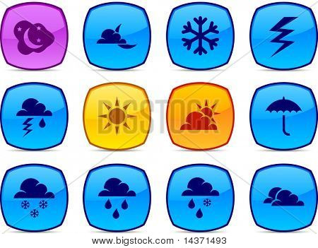 Weather   glossy icons. Vector buttons.