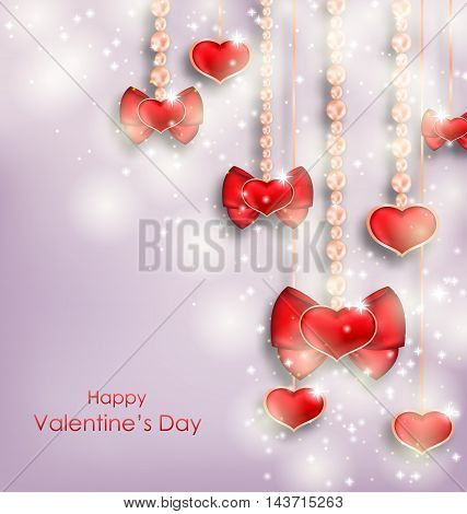 Illustration Shimmering Background with Hanging Hearts for Valentines Day - Vector