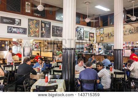 Mumbai, India - February 27, 2016: Interior of famous Leopold cafe in Mumbai, India