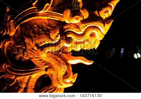 dark abstract tradition gold thai dragon statue