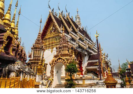 Thai church of temple with blue sky
