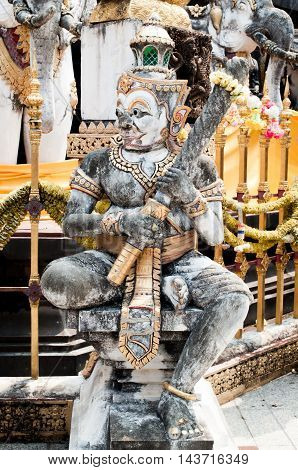 a giant statue in thai temple ,thailand