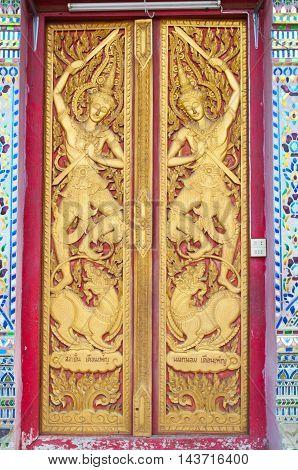 The door thai style art of buddha temple