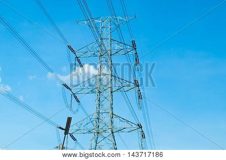 a electronic telecom tower with blue sky
