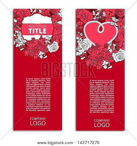 Red Romantic Vector flyers, cards set with flower design