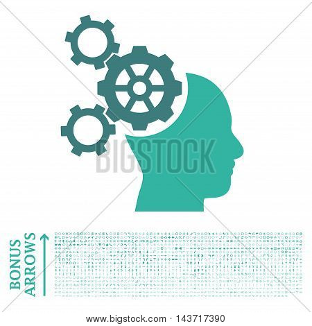 Brain Mechanics icon with 1200 bonus arrow and direction pictograms. Vector illustration style is flat iconic bicolor symbols, cobalt and cyan colors, white background.