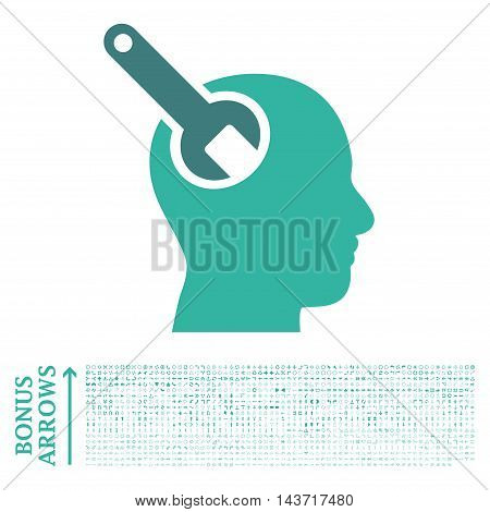 Brain Tool icon with 1200 bonus arrow and navigation pictograms. Vector illustration style is flat iconic bicolor symbols, cobalt and cyan colors, white background.