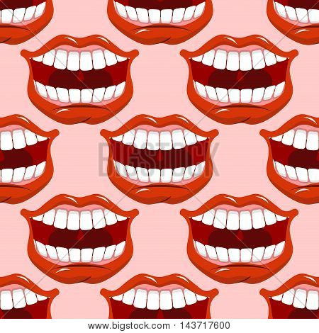 Cheerful Smile Lip Seamless Pattern. Red Lips And White Teeth Texture. Open Mouth Ornament. Backgrou