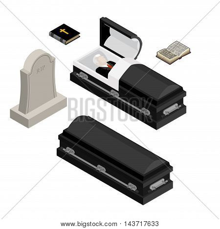 Funeral Set. Dead Man In Coffin. Open Black Casket With Dead. Holy Bible And Hymnal. Tombstone And G